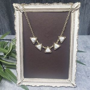 LOFT | Faux Marble Triangle Gold Tone Necklace